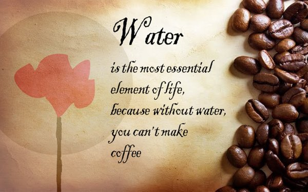 Water is the most essential element of life, because without water, you can't make coffee\\n\\n17/04/2015 16.16